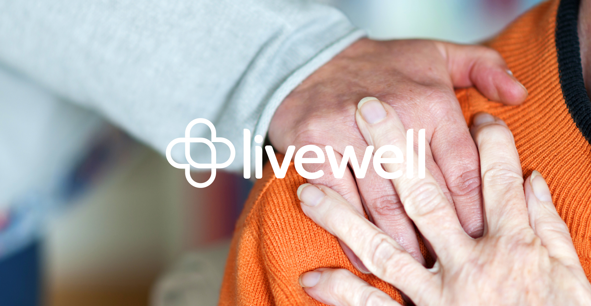 Livewell logo with hand image in the background